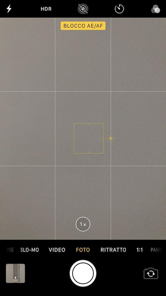 Messa fuoco ed esposizione bloccata - Blocco AE/AF iPhone