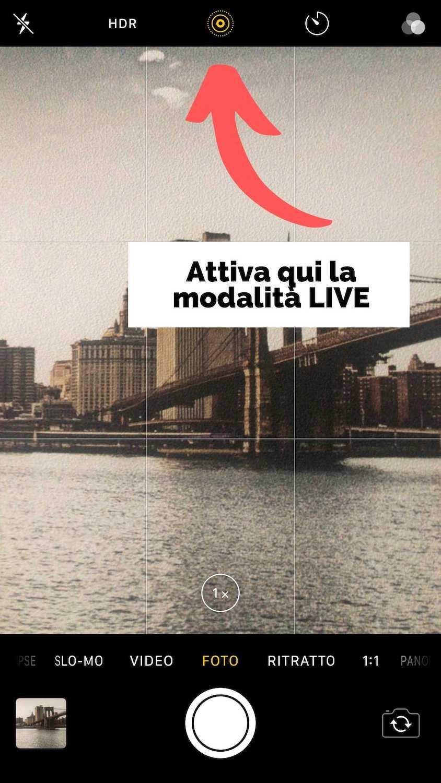 Immagine che fa vedere dove attivare la modalità Live Foto iPhone
