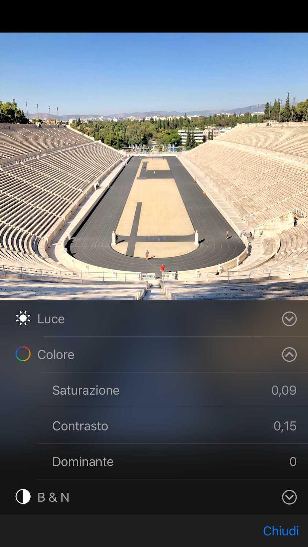 Foto Illustrativa selettori singole impostazioni Colore - Modificare Foto iPhone