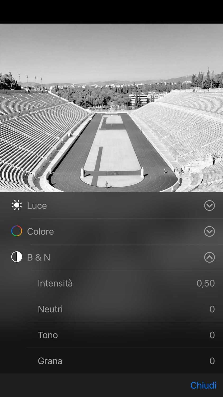 Foto Illustrativa selettori singole impostazioni B/N - Modificare Foto iPhone