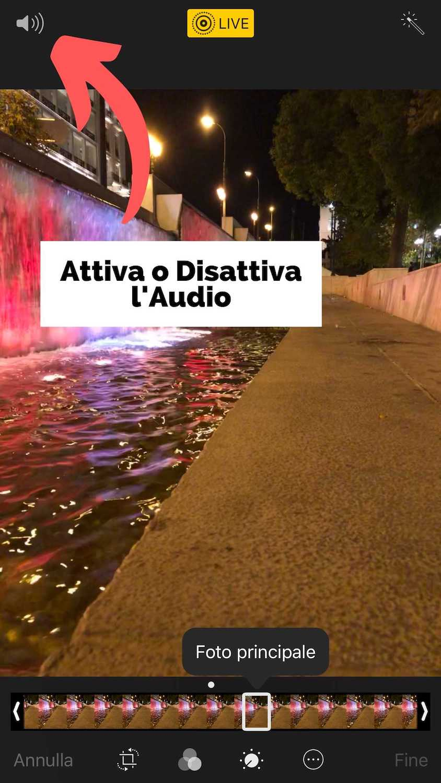 Foto Illustrativa per attivare o disattivare l'audio - Modificare Foto iPhone