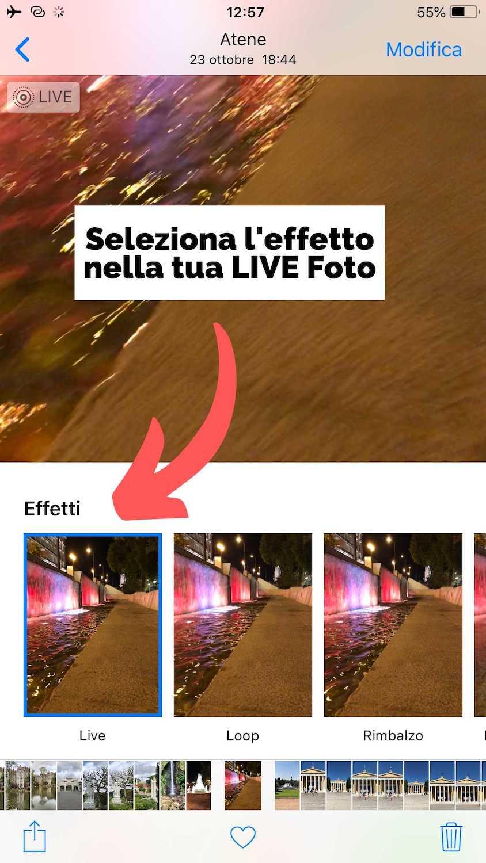 Foto Illustrativa per selezionare l'effetto LIVE