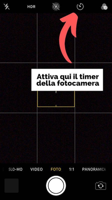 Attivare il timer della fotocamera