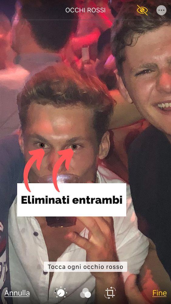 Eliminati occhi rossi