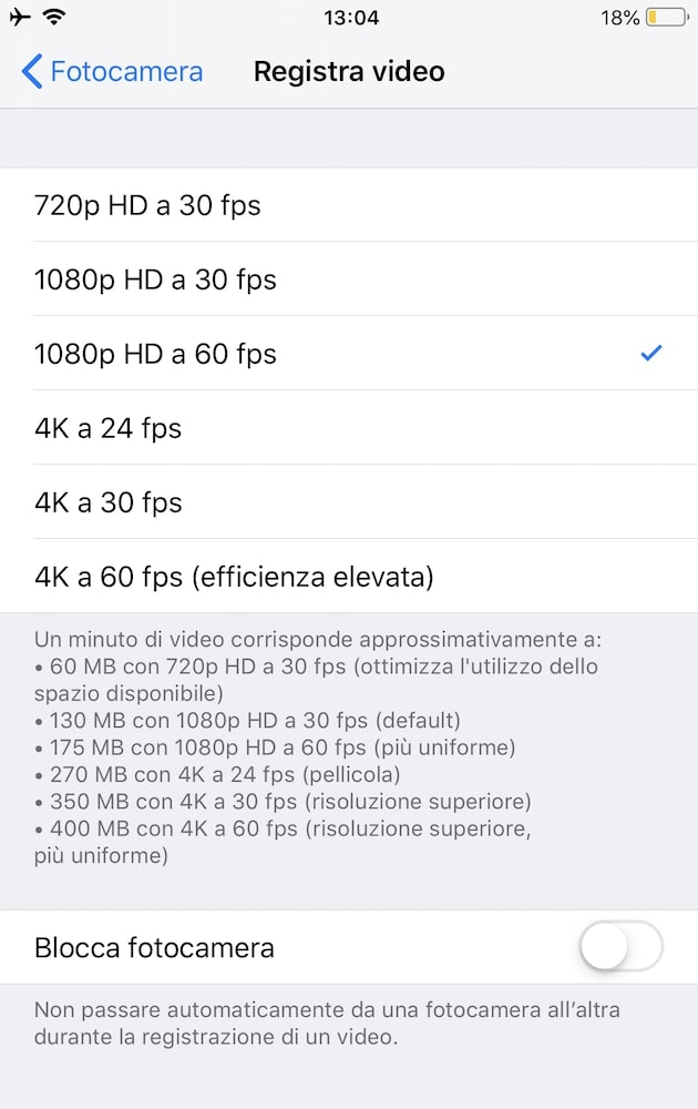 Formati video iphone