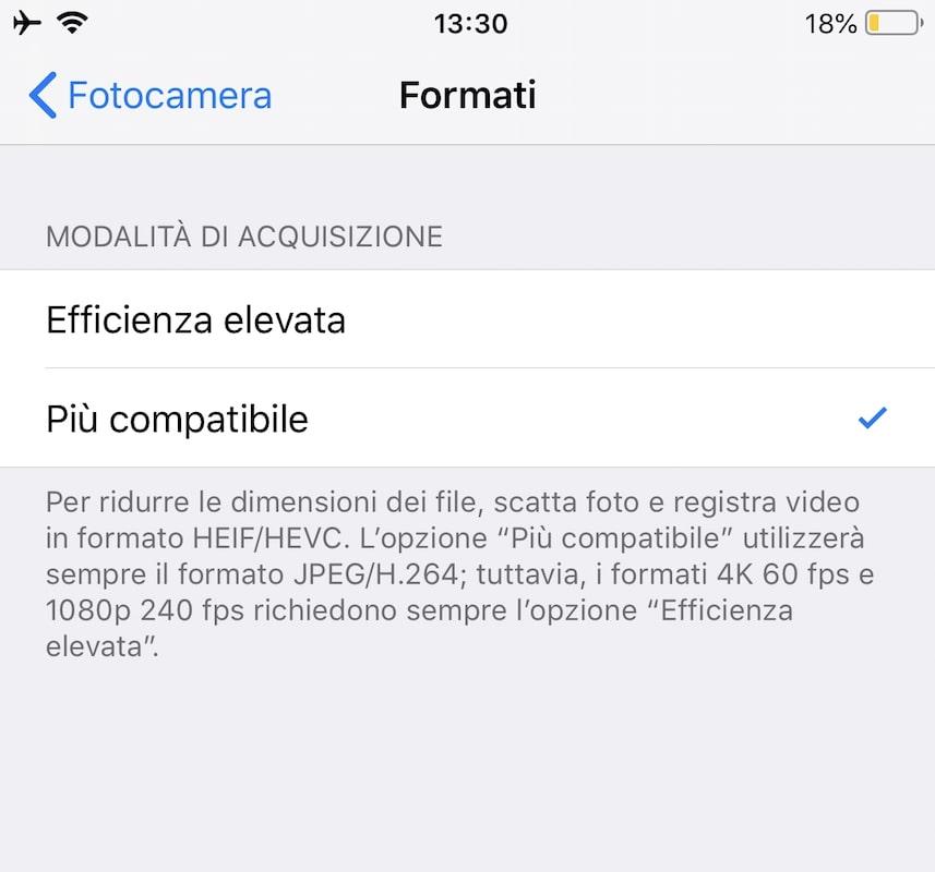 Formati impostazioni fotocamera iPhone