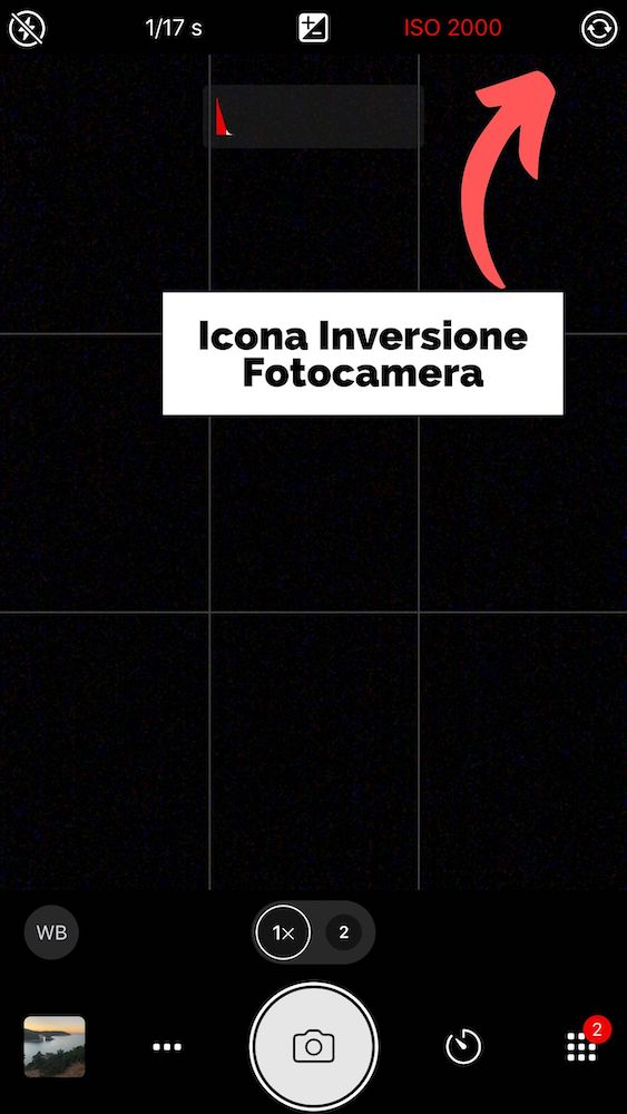 Icona inversione fotocamera - Impostazioni Manuali Fotocamera iPhone