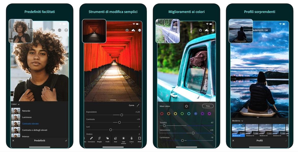 Schermata Lightroom - app filtri iPhone
