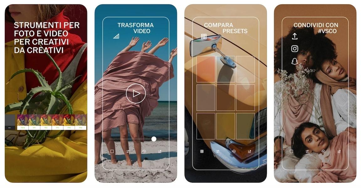 Schermata VSCO - Filtri app iPhone
