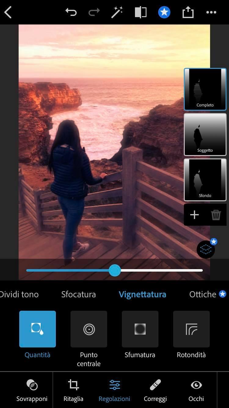 vignettatura photoshop iphone