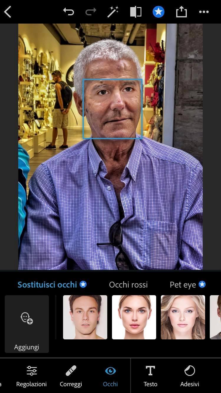 sostituzione occhi photoshop iphone